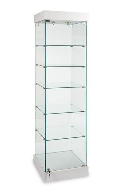 Glass Display Cabinet Showcases: Tower Display Showcase-Retail Store Display Showcase